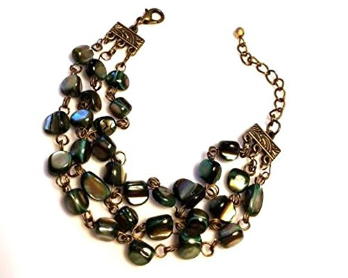Pearl Strand Nugget (Casual Multi Strand Earthy Green Mother of Pearl Nuggets Bracelet in Antiqued-Gold)