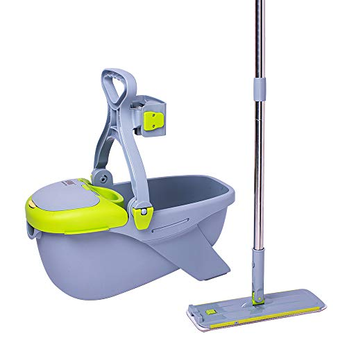 Microfiber Mop Bucket - CQT Microfiber Mop Buckets Floors Cleaning System with 2 Washable Flat Mop Pads