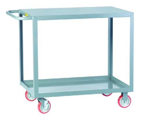 Little Giant LG-2436-BRK Welded Steel Service Cart with Flush Top Shelf and Wheel Brakes, 2 Shelves, Gray, 1200 lbs Load Capacity, 35