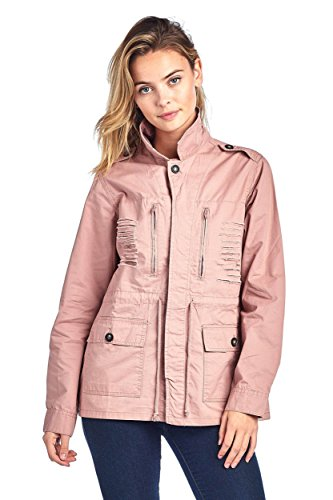 Ollie Arnes Women's Versatile Utilitarian Warm Anorak Drawstring Parka Jacket 008_Mauve (Womens Anorak)