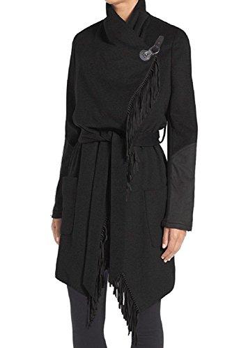 BCBGeneration Black Mixed Media Fringe Wrap Coat (L)
