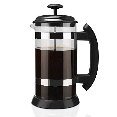 XIAOWEI 1000ml Cafetera Espresso Tetera de Acero Inoxidable Tetera de Vidrio Cafetera Café francés Percolador de té…