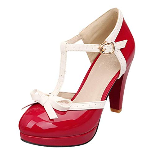 Susanny Women's Chic Sweet Round Toe T-Strap Bows Adorable Buckle High Cone Heel Mary Janes Dress Red6 Pumps 10.5 B(M) US