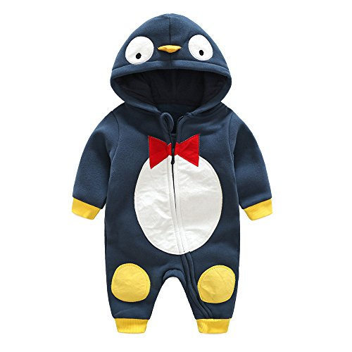 Cute Mom And Baby Costumes (Birdfly Newborn Baby Penguin Romper Zip Up Hooded Jumpsuit Cute Dress Up Animal Costume Thick Fleece Bodysuit Winter Cozy Outfits (6M, Navy))
