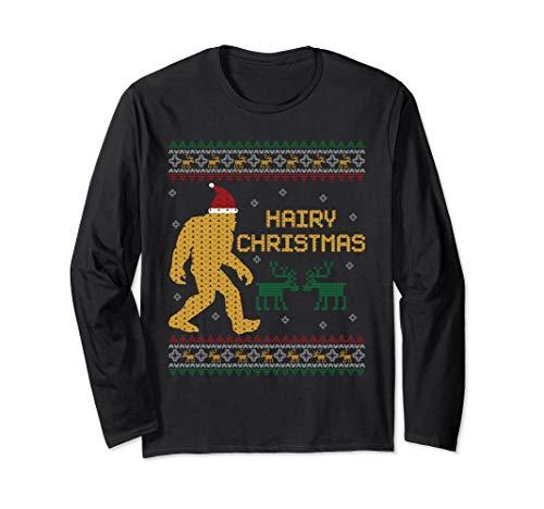 Hairy Christmas Bigfoot Ugly Christmas Sweater Long Sleeve