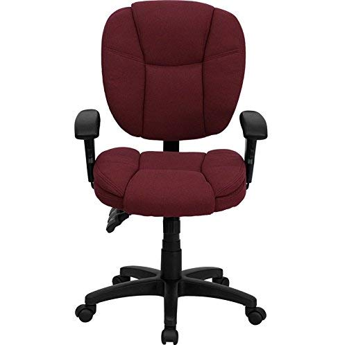 Flash Furniture Mid-Back Burgundy Fabric Multifunction Ergonomic Swivel Task Chair with Adjustable Arms
