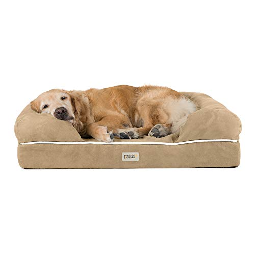 "Friends Forever Orthopedic Dog Bed Lounge Sofa Removable Cover 100% Suede 4"" Mattress Memory-Foam Premium Prestige Edition 44"" x 34"" x 10"" Khaki Beige XL"