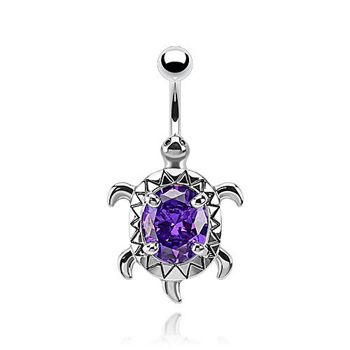 Oval Navel Ring - Dynamique Turtle with A Large Oval CZ Center 316L Surgical Steel Belly Button Ring (Sold Per Piece)