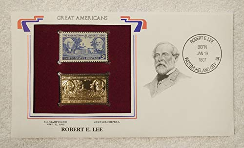 Robert E. Lee - Great Americans - Postage Stamp (1949) & 22kt Golden Replica Stamp plus Info Card - Postal Commemorative Society, 2001 - Civil War, General, Confederate Army