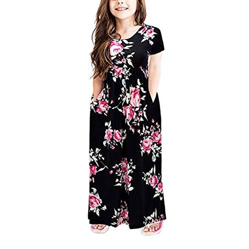 Qpika Toddler Baby Fashion Girl Dress Short Sleeve Floral Flowers Pocket Dresses Kids Party Beachwear Dresses -