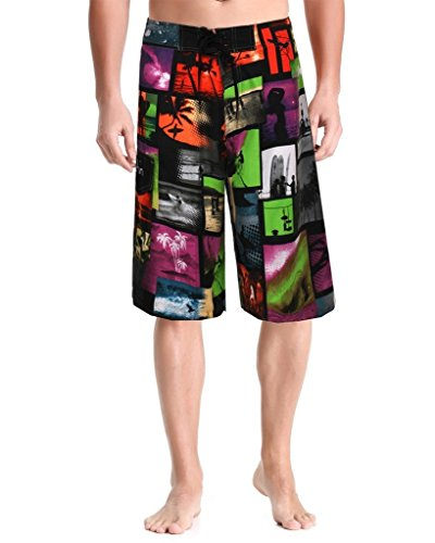 Swim Boardshorts Men's-Quick-dry Board Shorts-Sports Surf Beach Shorts-Clothin(Coconut Tree Purple,US - Water Coconut Purple