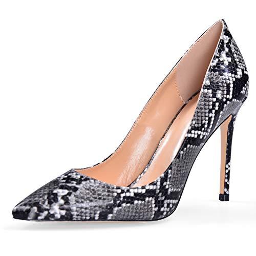 YODEKS Women's Pointy Toe Snakeskin Pumps Animal Print High Heel Shoes Snakeskin US10