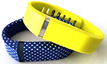 Small 1 Blue with White Dots Spots 1 Yellow Band for Fitbit FLEX Only With Clasps Replacement /No tracker/