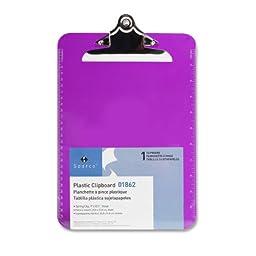 S.P. Richards Company Transparent Plastic Clipboard, 9 x 12-1/2 Inches, Violet (SPR01862)