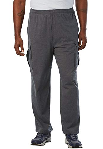 KingSize Men's Big & Tall Lightweight Cargo Sweatpants, Heather Slate Tall-2XL