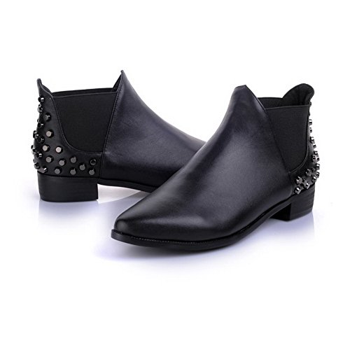 Low Square Toe Tip Heels Pointed AmoonyFashion and Heels with Toe Boots Closed Black Women's XPqnqRwFf