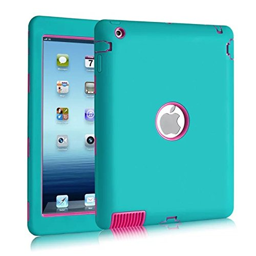 iPad 2 Case,iPad 3 Case,iPad 4 Case,ZMKH Heavy Duty Rugged Shock-Absorption / High Impact Resistant Hybrid 3 IN 1Armor Full Body Protective Case Cover for iPad 2/3/4 (Blue / Rose Pink)