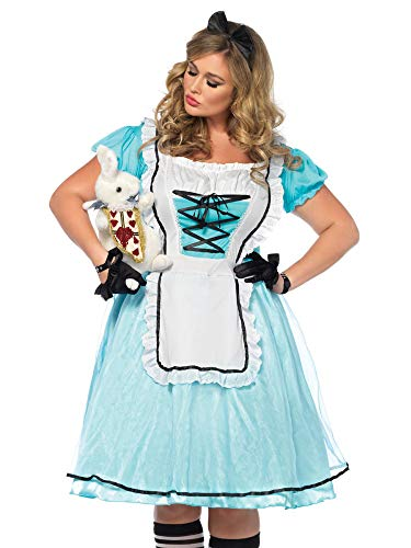 Leg Avenue Women's Plus Size Alice in Wonderland Costume, Blue/White, 1X-2X