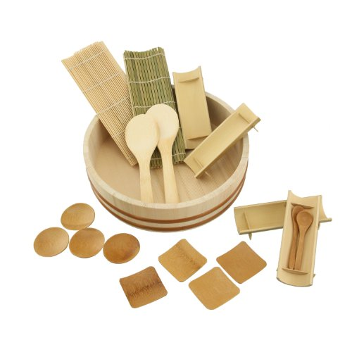 BambooMN 10.6'' Sushi Oke Tub Hangiri with 19 Pieces Sushi Making Serving Accessory Kit by BambooMN (Image #1)