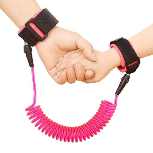 JINSEY Safety Child Anti Lost Wrist Link Harness Strap Rope Leash Walking Hand Belt Band Wristband -Pink ()