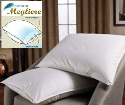 Natural Megliere, Pluma y Down Alternativo Doble cámara 70/30, Almohada Hotelera Libre de alérgias y 100% Lavable, King...