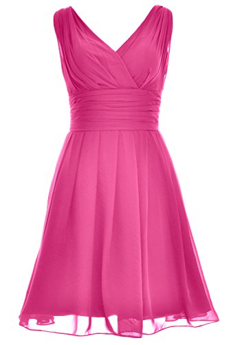 festa onore scollo d' di nozze Cocktail a abito Fuchsia V Backless da donne MACloth vestito da breve damigella Ppx1n