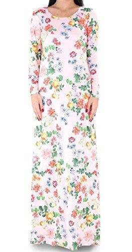 Confortables Femmes Cou Floral Scoop Imprimé À Manches Longues Surdimensionné Partie Pink2 Robe