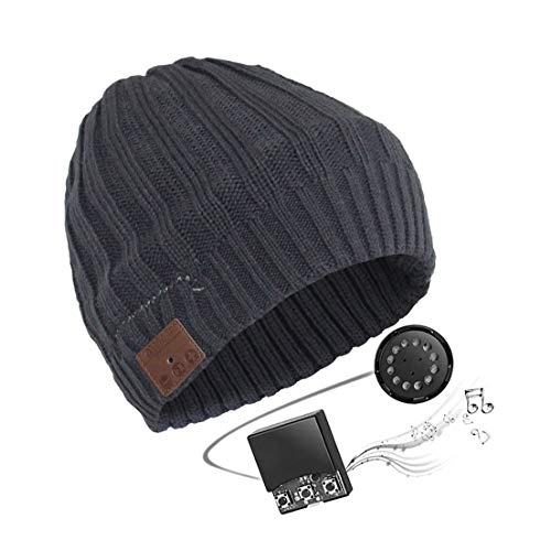 WIOR Unisex Bluetooth Hat Headset Cap Knitted Wool Music Beanie Hat with Wireless Bluetooth Headphones for Fitness Exercise Running Walking Dog Waiting Bus Winter Sports