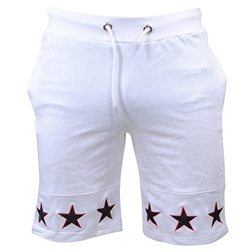 JJLIKER Men's Classic Fit Casual Cotton Jogger Gym Workout Bodybuilding Shorts Pants with Elastic Waist Drawstring White