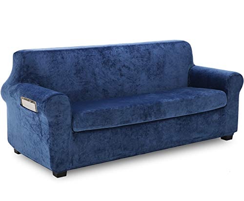 TIANSHU Fleece Slipcover 2 Piece, Velvet Plush Couch Cover for Sofa, Stylish Luxury Furniture Covers with Utility Pockets (Sofa, Aegean Blue) ()