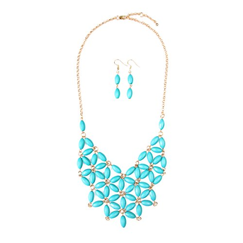 RIAH FASHION Floral Colorful Acrylic Beaded Bubble Statement Hammock Necklace - Tessellate Flower Net Bubble Bead Cluste Statement Bib Collar (Turquoise)