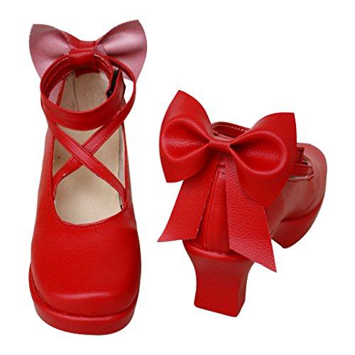 Puella Magi Madoka Magica Cosplay Chaussures Bottes Faites Sur Mesure Rouge