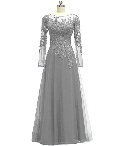 Pretygirl Women's Appliques Tulle Mother Of The Bride Dress Long Sleeves Evening Formal Gown (US 20W, Silver Grey)