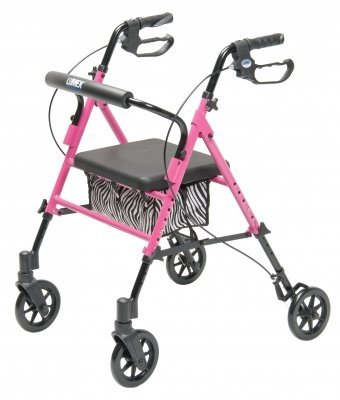 Lumex Set N' Go Adjustable Rollator-Pink with Zebra Pouch-Seat Height Adjusts From 18''-22'', 14 Pound by Lumex