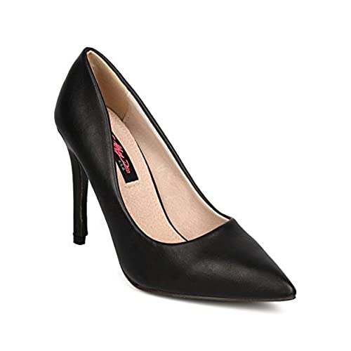 cheap Women Leatherette Pointy Toe Single Sole Stiletto Pump FF48 - Black big discount