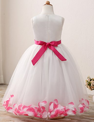 NNJXD Girl Tutu Flower Petals Bow Bridal Dress for Toddler Girl Size 4-5 Years Big Rose red