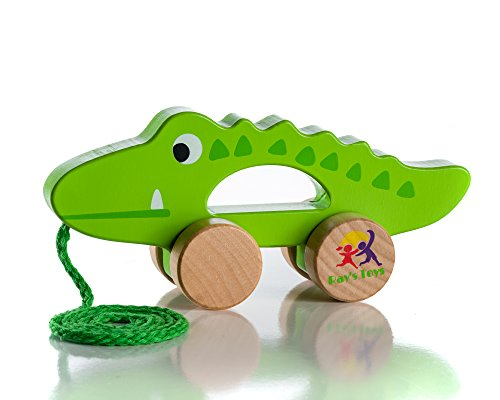 Rays Toys Wooden Pull Along Crocodile Toy - Beautiful Crocodile Pull Along Toy for Baby Boy & Girl - The Best Toy for 1-Year Olds and up- Outdoor & Indoor Toy for Babies & Toddlers- Child Safe