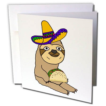 3dRose All Smiles Art Animals - Amusing Cute Sloth Wearing Sombrero and Eating Taco Cartoon - 12 Greeting Cards with envelopes (gc_263830_2)