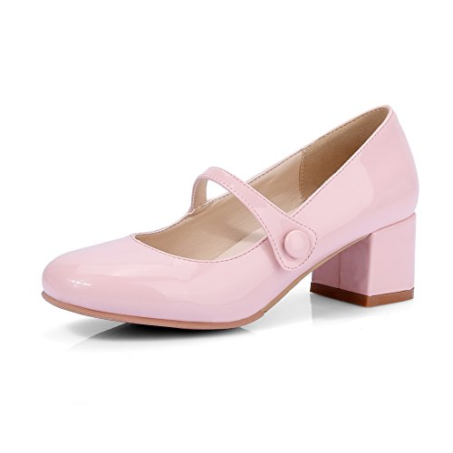BalaMasa Womens Chunky Heels Low-Cut Uppers Round-Toe Pink Patent-Leather Pumps Shoes - 8 B(M) ()