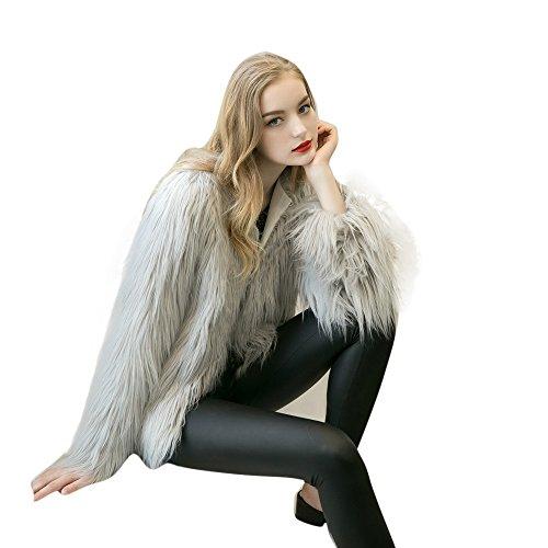 Brezeh Women Faux Fur Coat Ladies Winter Warm Fox Fur Jacket Parka Outerwear Sexy Gray