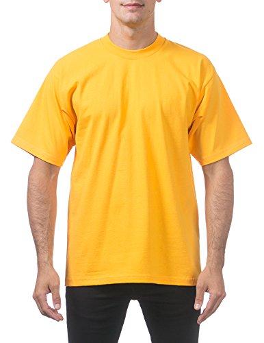 Pro Club Men's Heavyweight Cotton Short Sleeve Crew Neck T-Shirt, 4X-Large, Gold ()