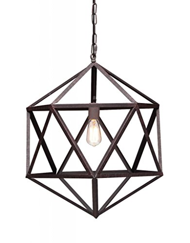 (Industrial Amethyst Ceiling Lamp with Aged Patina Finish)
