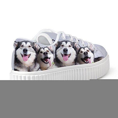 Bigcardesigns Schattige Honden Ontwerp Casual Lage Top Sneaker Lace-up Skate Schoen Meisjes Dog5