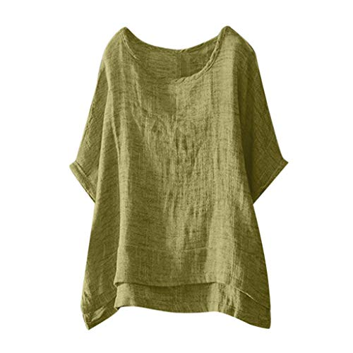 TUSANG Womens Tees Casual Cotton and Linen Solid Color O-Neck Short Sleeve Loose Fit Comfy Tunic Tops (Yellow,US-10/CN-XL)