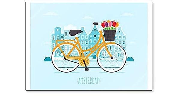 Viaja a Ámsterdam. Imán para nevera con diseño de bicicleta con ...