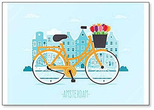 (Travel to Amsterdam. Yellow Bicycle with Tulips in Basket Illustration Fridge Magnet)