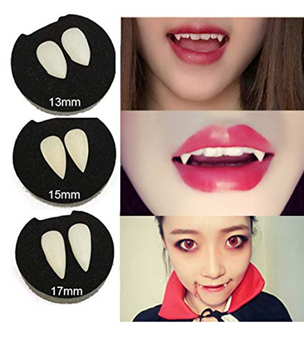 AISHNE 3 Pairs Vampire Teeth Halloween Cosplay Fangs Horror Tooth with Blood Capsules -