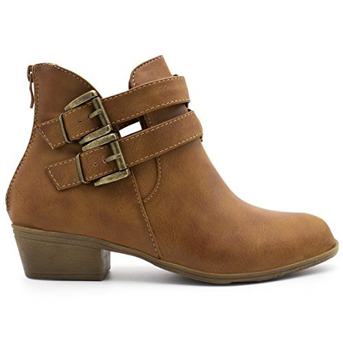 5 Buckle Platform Boot - TOP Moda Women's Chase-5 Buckle Straps Stacked Low Heel Ankle Booties Tan 5.5