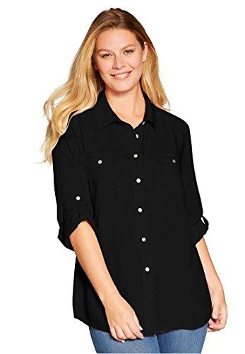 Woman Within Women's Plus Size Long Sleeve Utility Shirt (Black Utility Shirt)