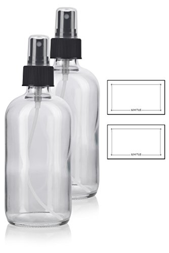 8 oz Clear Boston Round Thick Plated Glass Bottle with Black
